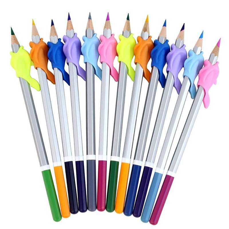 10PCS/Set Pencil Grips Dolphin Children Pencil Holder Pen Writing Aid Grip Posture Correction Tool (10pcs Random Colour)