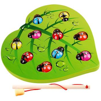 Children's Love Ladybug Fishing Game Baby Early Montgomery Education Alpinia Wooden Toys Parent Child Interactive Games image