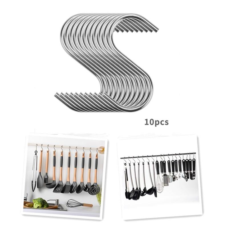 10pcs Stainless Steel Household Hooks Set For Hanging S Shape Hanger Practical Storage Holder For Kitchen Cabinet Office Home