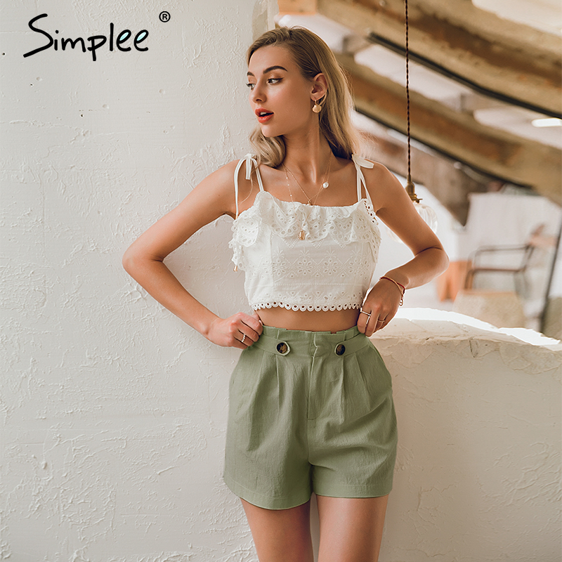 Simplee Casual solid women summer   shorts   Middle waist cotton female   shorts   Office work ladies buttons   shorts   streetwear bottoms