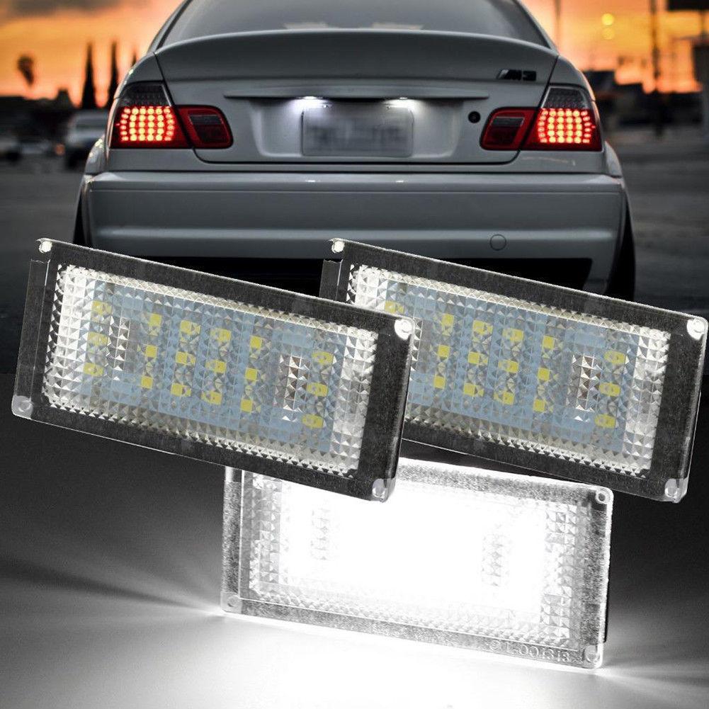 For BMW 3 Series E46 License Plate Light 6500K Car Rear Number Lamp Universal 18 LED error free white LED license plate lamps