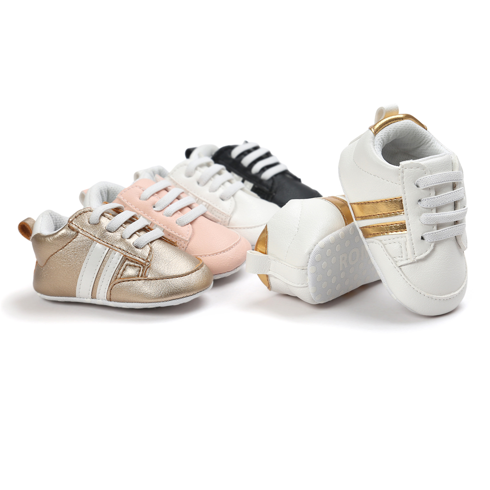 2020 Baby Shoes Newborn Boys Girls Two Striped First Walkers Kids Toddlers Lace Up PU Leather Soft Soles Sneakers 0-18 Months 2