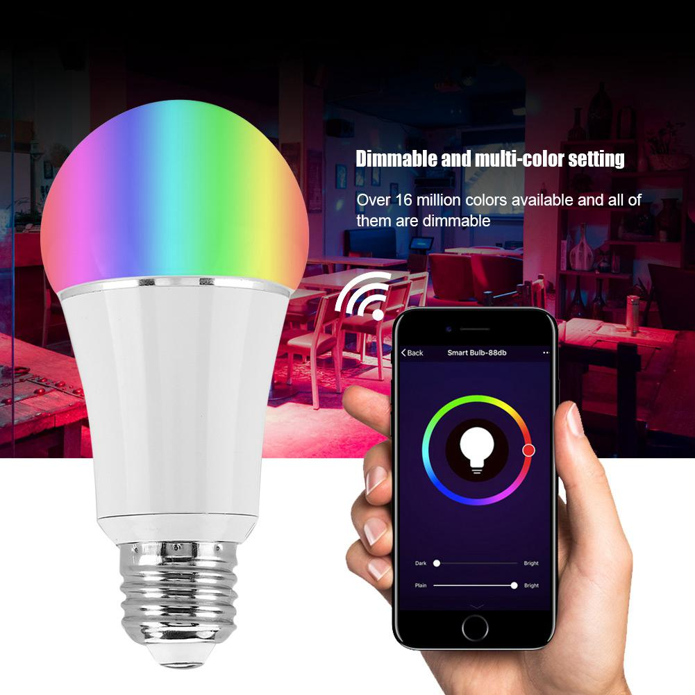 New Wireless WiFi Smart Bulb Home Lighting Lamp 7W B22 E14 E26 E27 Magic RGB +W LED Change Color Light Bulb Dimmable