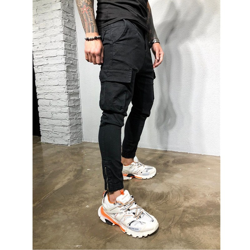 Summer Men Camouflage Casual Pants Patchwork Sweatpants Male Cargo Pants Foot Mouth Zipper Multi-pocket Sportwear Mens Joggers