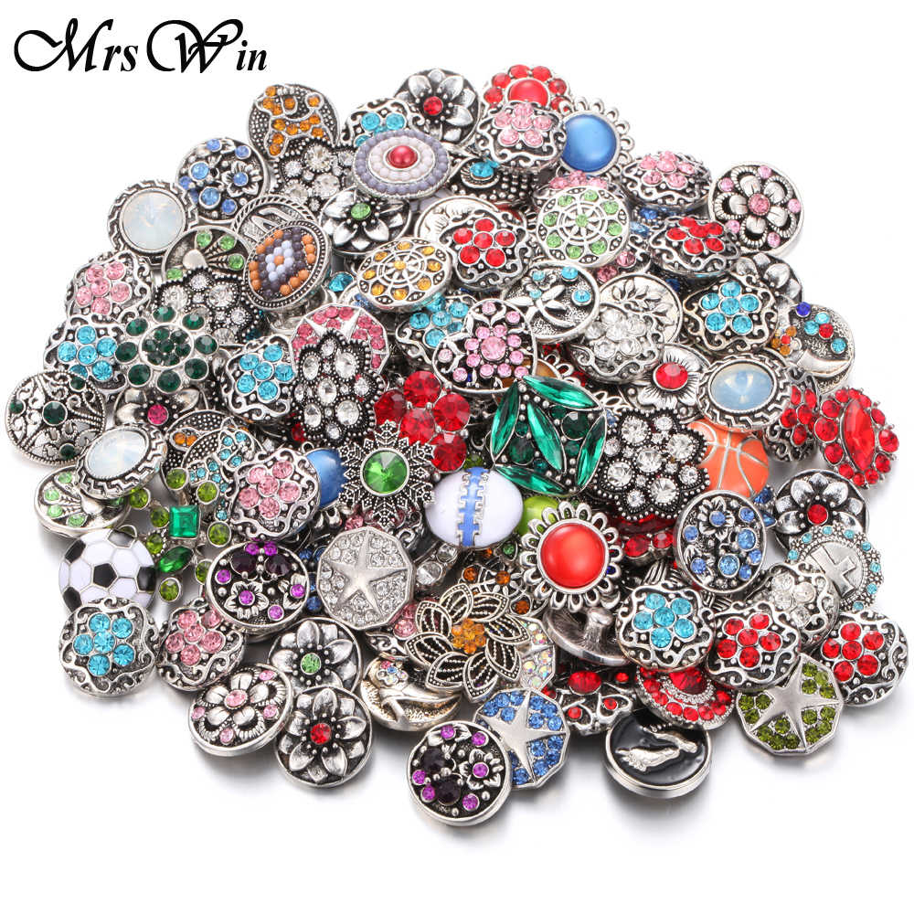 10pcs/lot New Snaps Jewelry Randomly Mixed Crystal Metal 18mm Snap Buttons Women Charm Bracelet & Bangle Snap Button