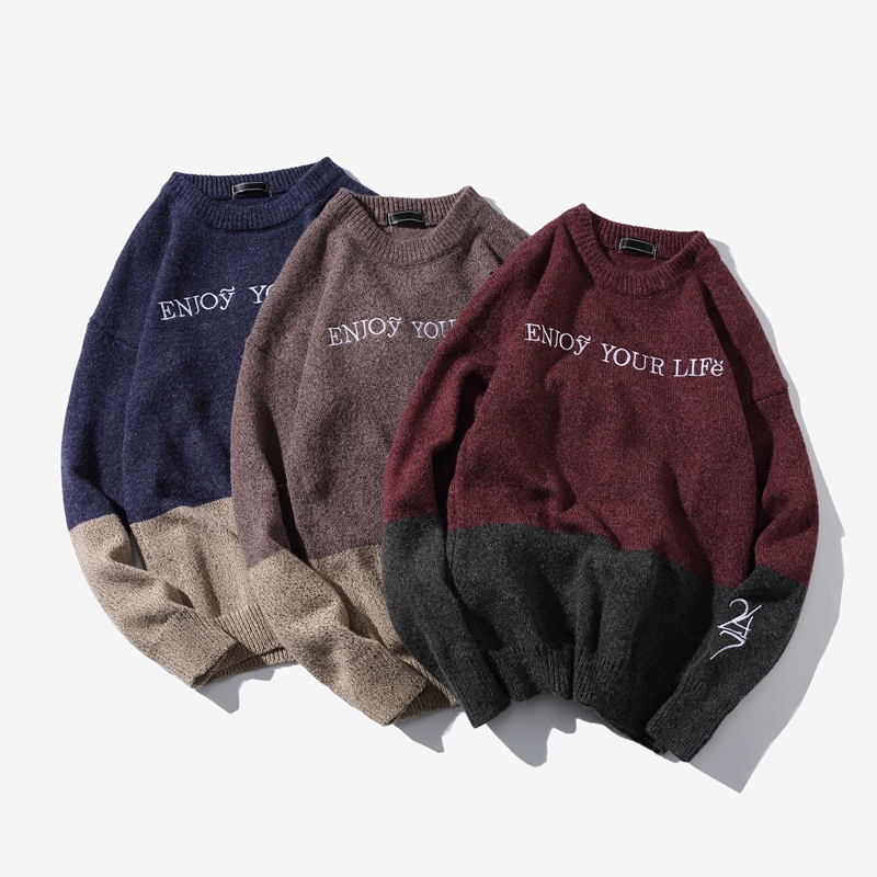 2019 Autumn New Large Size Men's Casual Simple Round Neck Long Sleeve Letter Embroidery Stitching Pullover Sweater