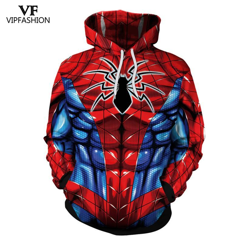 VIP FASHION 2019 New Long Sleeves Iron Spiderman 3D Printed Pullover Hoodies The Amazing Spiderman Winter Sweatshirts For Male