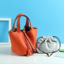 Сумка для корзин, кожаная сумка-мешок, новинка, кожаная сумка Lychee, женская сумка
