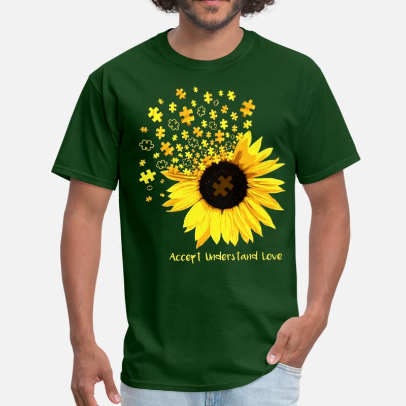 Customized Accept Understand Love Sunflower Autism Tshirt For Men Woman O Neck Kawaii Tshirt Short Sleeve Clothing Hiphop Tops