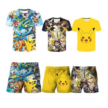 Letnie koszulki dla dzieci krótkie spodnie śmieszne Pokemon spodnie odzież chłopięca 2021 letnie dziewczynek ubrania krótkie ubrania 3D tanie i dobre opinie POLIESTER Damsko-męskie 4-6y 7-12y 12 + y moda CN (pochodzenie) CZTERY PORY ROKU Z okrągłym kołnierzykiem Zestawy Brak