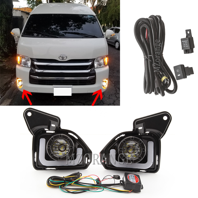 LED DRL Fog Lights For Toyota Hiace 2014-2018 Headlight Headlights Fog Light Foglights Fog Lamps Grille Covers Frame Wire Switch
