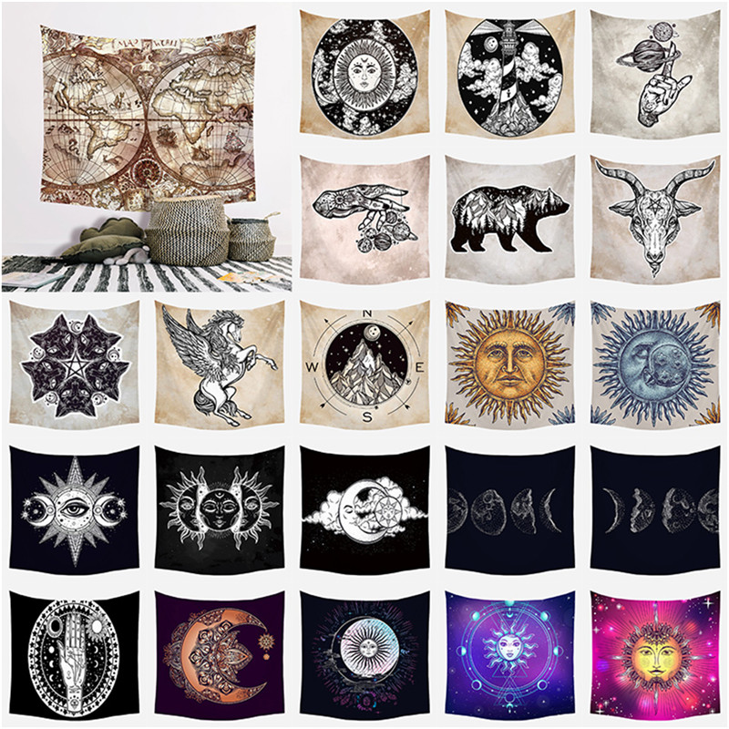 Creativity Vintage European Wall Hangings Witchcraft Tapestry Sun Moon Star Dorm Room Headboard Arras Carpet Astrology Blanket