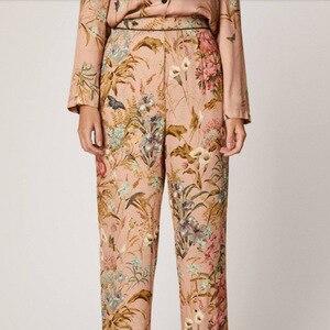 Image 3 - Lente En Herfst Vest Nieuwste Pyjama Vrouwen Lange Mouwen Broek Katoen Bloem Afdrukken Comfortabele Thuis Pak Vrouwen