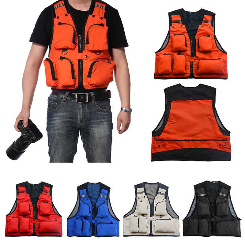1pc Multi-Pocket Fly Fishing Vest Jacket Outdoor Chest Pocket Quick-Dry Fishing Vest Safety Waistcoat Survival Utility Vest