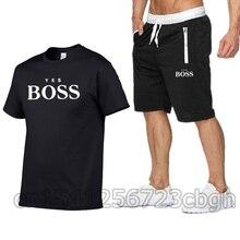 Track Anzug M% C3% A4nner Sommer Shorts Anzug Kurzarm-рубашка Shorts Casual Wear JA BOSS Herren Sportswear Fitness Kleidung M% C3% A4nner Anzug