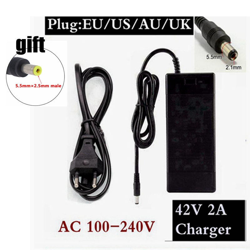 36V 2A Electric Bicycle Battery Charger Output 42 V 2 A Charger Input 100 -240 VAC Lithium Li-ion Li-poly Charger for 10series