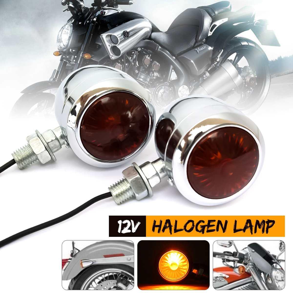 2/4Pcs 12V Retro Metal Chrome Motorcycle Turn Signal Indicator Halogen Light Bulb Lamp Vintage Amber Universal For Harley