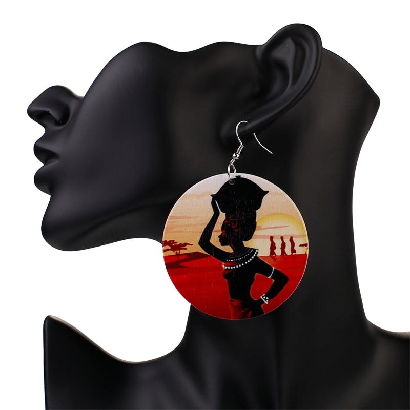 AENSOA Handmade Ethnic Africa Pattern Print Wooden Earrings For Women Vintage African Story Round Statement Wood Drop Earrings