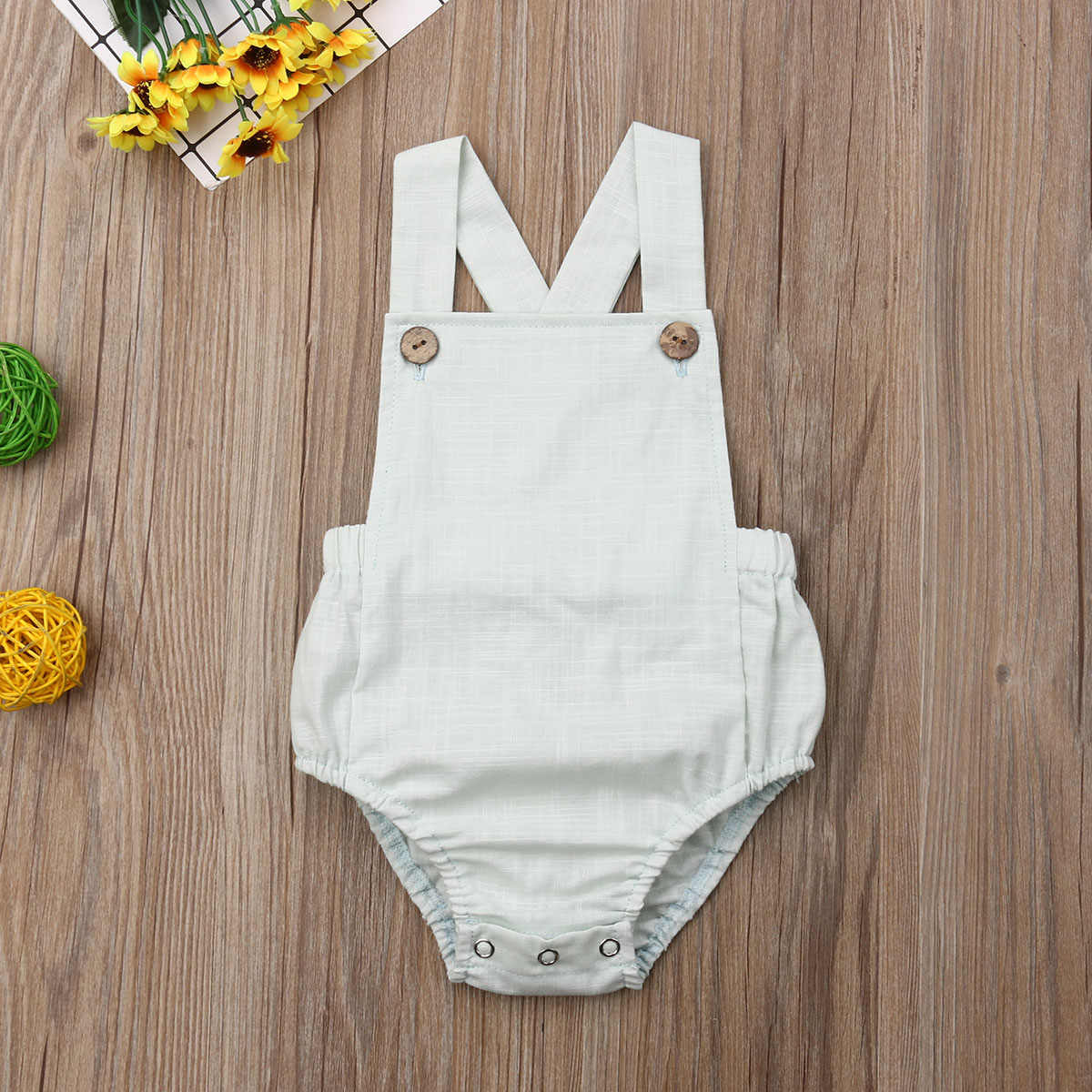 Newborn Baby Infant Toddler Girl Solid Ruffles Bodysuit Button Backless Jumpsuit Baby Casual Clothing One-piece Outfits 0-3T