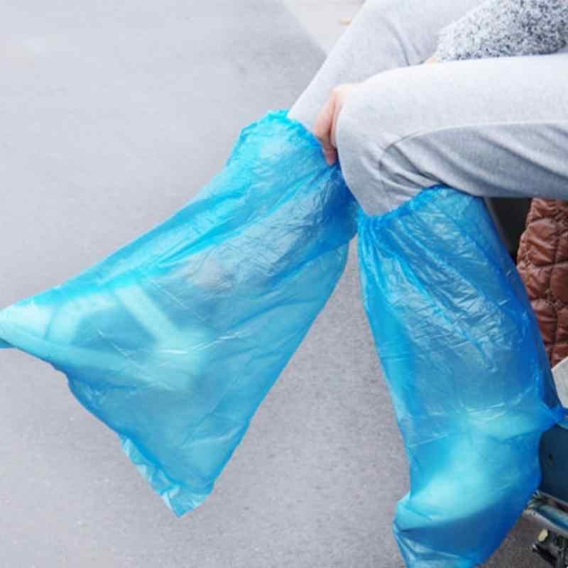 5 أزواج عالية الجودة دائم للماء سميكة البلاستيك المتاح أغطية لحذاء المطر عالية أعلى المضادة للانزلاق غير نافذ للمطر أغطية الحذاء