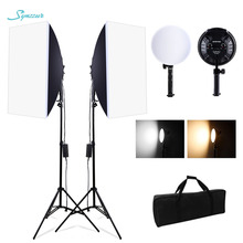 Photography Softbox Lighting Kit 3200-5600k Stepless Dimming Speedlight Led Light Professional Softbox 2m Tripod For Photo Video cheap SYNZZUR softbox photography Nylon and Aluminum Quadrilateral 4 3kg 70*17*18CM Dimmable softbox softbox with 2M triopo Color temperature 3200-5600K