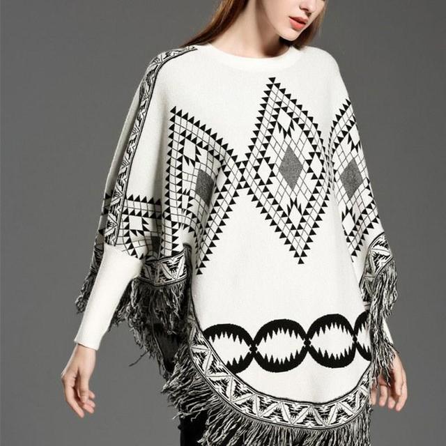 Autumn Sweater Women  Sexy Knit Cloak Ladies Europe America Street Style Shawl Sweater 10
