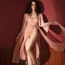 Seksi özel pijama kadın yaz dantel bayanlar uzun gecelik Robe ve önlük evlenmek bornoz seti uyku elbise iç çamaşırı kadınlar için