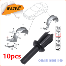 JEAZEA Car Fender Liner Rivets Clips 51161881149 Replacement For BMW E12 E28 E34 E39 E60 E61 E88 F20 E64 Side Skirt Sill Clips