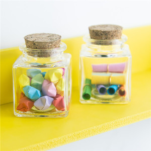 Image 5 - Small Square Bottle With Corks Clear Square Empty Glass Bottles glycyrrhiza sweets Food Grade Seal 50ml Jars Vials 24pcs