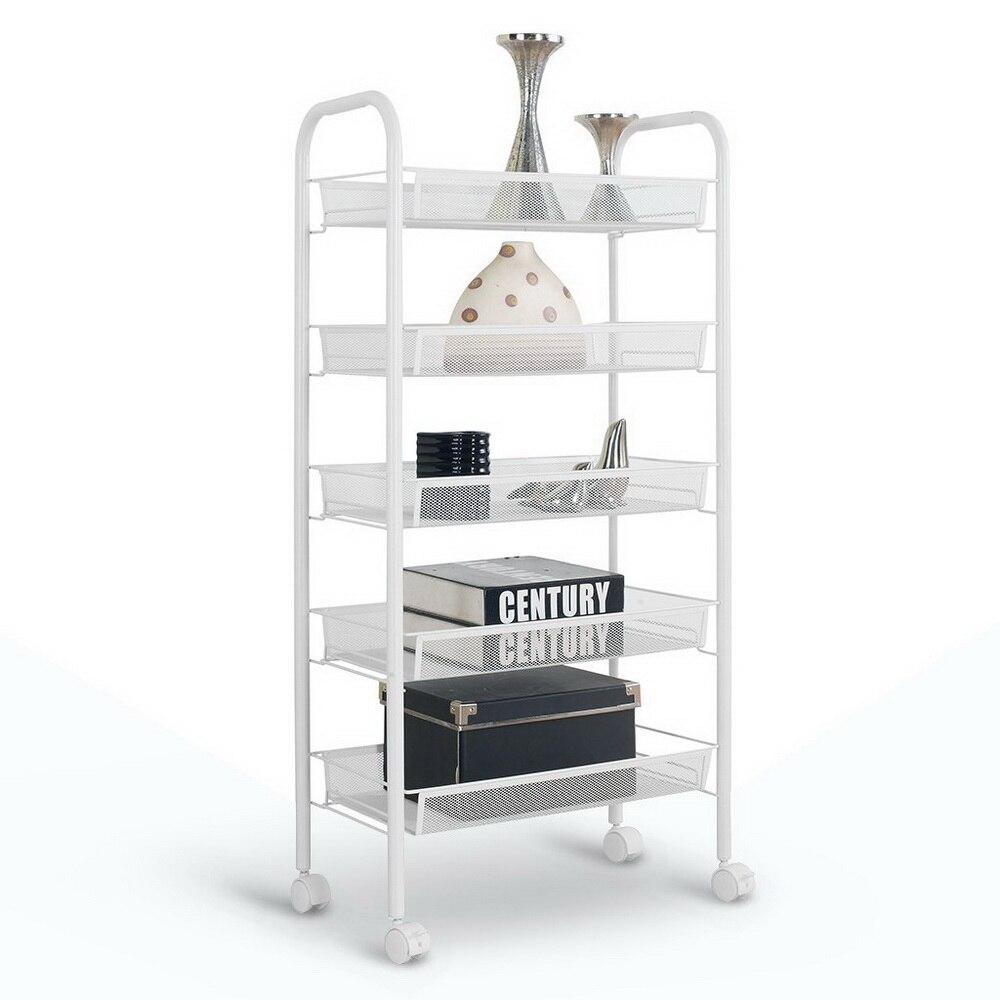 Chariot de stockage exquis de cinq rangées de filet de nid d'abeilles avec le support blanc ivoire d'étagère de crochet pour le support de stockage à la maison de cuisine