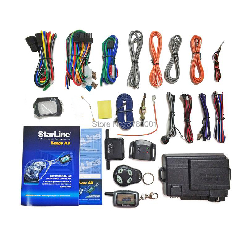 Only For Russian Twage StarLine A9 2 Way Car Alarm System LCD Remote Control Key keychain StarLine A 9