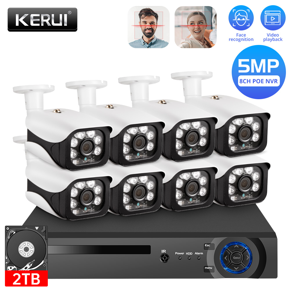 KERUI Outdoor Wireless 8CH 5MP NVR POE Home Security Camera System CCTV H.265 Video Surveillance kit Video Recorder Face Record
