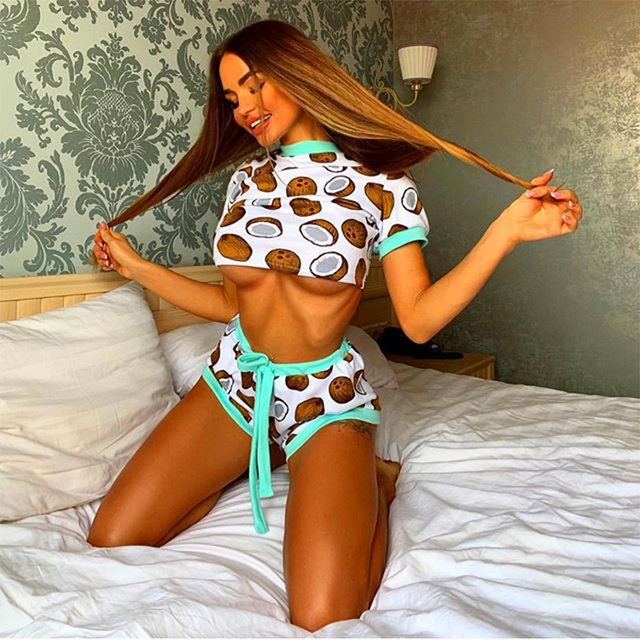 Cute and Fun Coconut Print Tracksuits Crop Top Women Two Piece Sets