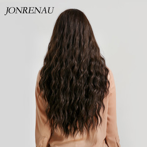 Image 5 - JONRENAU Long Water Wave Hair Women Fashion Wig with Bang  Heat Resistant Synthetic Wigs for African American