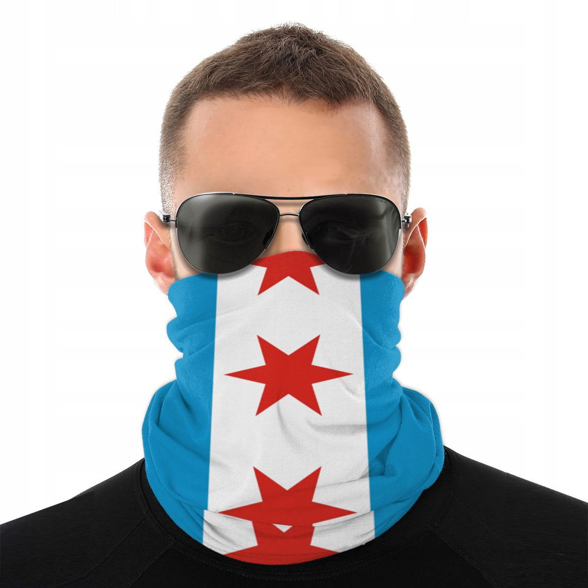 Chicago Flag Scarves Half Face Mask Men Women Fashion Tube Scarf Tubular Bandanas Polyester Headwear Biking Hiking