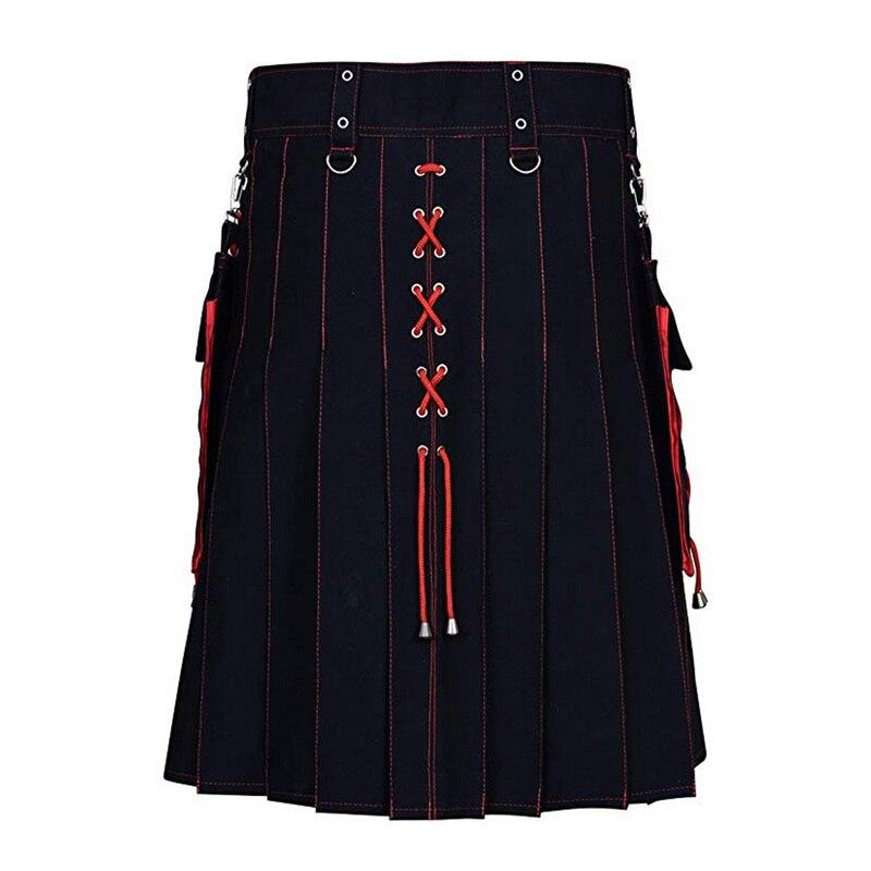 Drawstring Unisex Scotland Kilt Retro Knight Clothing Pleated Skirt Cosplay Shorts Skirts Pockets Knee Length Knife Pleat Kilts