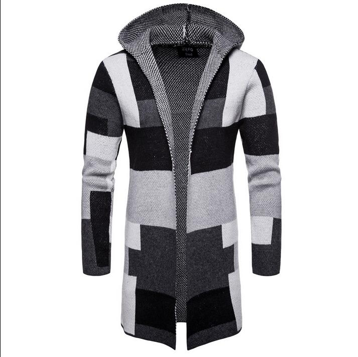 Men's Collarless Hooded Color Block Long Cardigan Tops Autumn Casual Coat Plaid Checks Sweaters A6