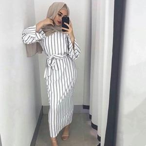 Women Open Abaya Muslim Party dresses Women Kaftan Cotton Striped Turkish Islamic Arab Costume Casual Wear