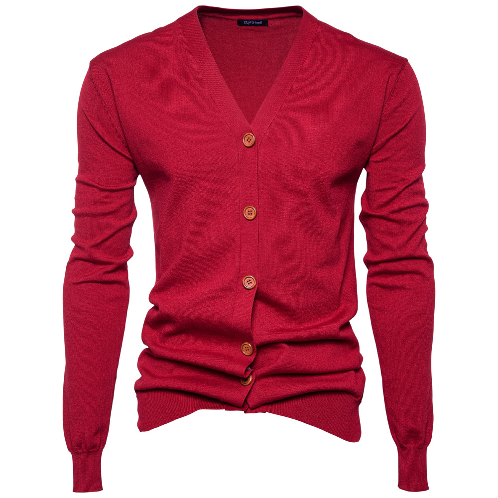 Newest Spring And Autumn Men's Knitted Sweaters Fashion Simple Style Multi Colors Men's Pure Bottom Sweaters Knitted Cardigans