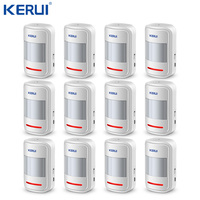 Kerui 12pcs P819 Rechargeable 5V USB 433MHz Wireless PIR Motion Detector For GSM PSTN Security Alarm System Auto Dial Alarm Kit