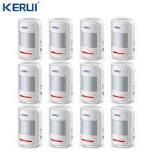 Kerui Kit système dalarme de sécurité avec détecteur de mouvement sans fil PIR, Rechargeable par USB 5V 433MHz, 12 pièces (P819), pour GSM/PSTN, pour composition automatique