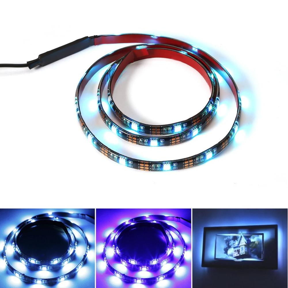 ICOCO 30LED 5V Flexible Safe SMD 5050 RGB Waterproof Light Bar LED Light Strip With Controller For TV Backlight PC Decoration