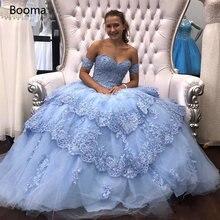 Светильник Голубое Бальное платье платья для quinceanera с открытыми