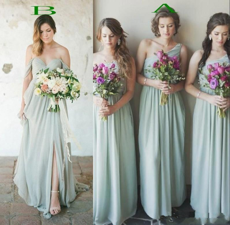 2019 Country Boho Style Chiffon   Bridesmaids     Dresses   A Line Pleats Long Guest Party Prom Gowns Cheap robe de soiree