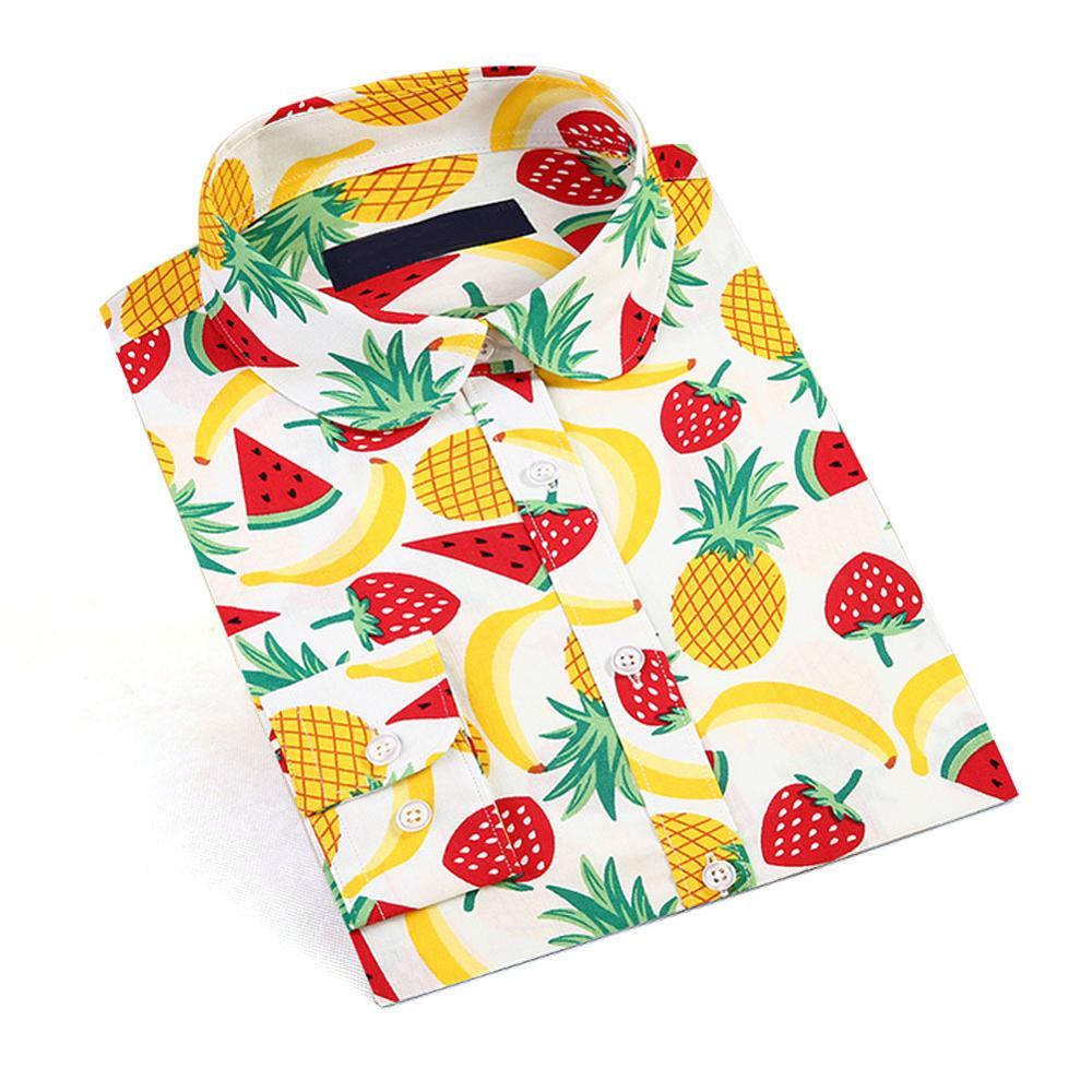 Dioufond 2019 New Watermelon Fruit Print Women Blouse Shirt Floral Bohemia Vintage Blouses White Office Shirts Fashion Plus Size