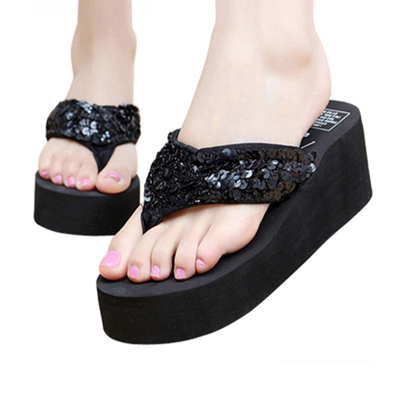 2020 New Women Flops Solid Slides Women Sandals Women Thickness Sequin Shoes Zapatillas Shoes Slippers Beach Shoes