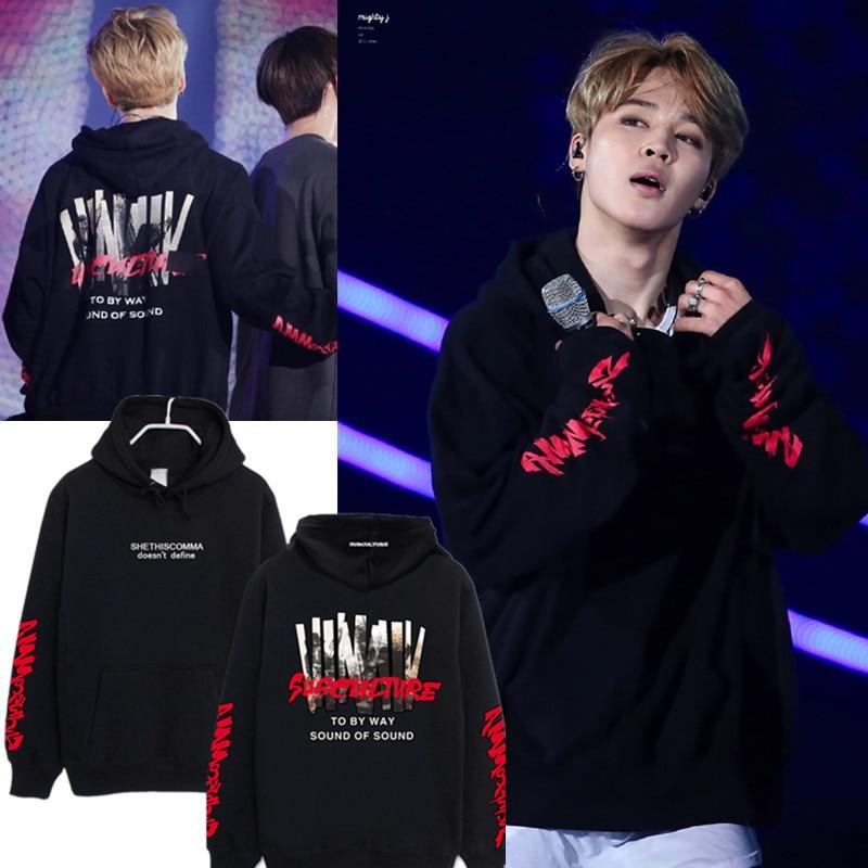 3 Color Park Jimin Concert Hoodies Sweatshirts Kpop Letter Hooded Tops Women Men Couple Streetwear Pullovers Hoodie Sweatshirt