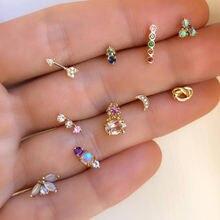 Женские милые серьги гвоздики с кристаллами набор из 10 шт/компл