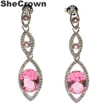 38x10mm SheCrown Created Pink Morganite CZ Gift For Girls Silver Stud Earrings