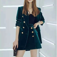 Spring Autumn High Street Stylish Women Stunning Velvet Outfits Solid Green Jacket Mini Skirt Quality Two Pieces Sets
